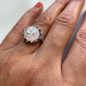 Madewell Jewelry - Silver & white speckled holographic gemstone ring
